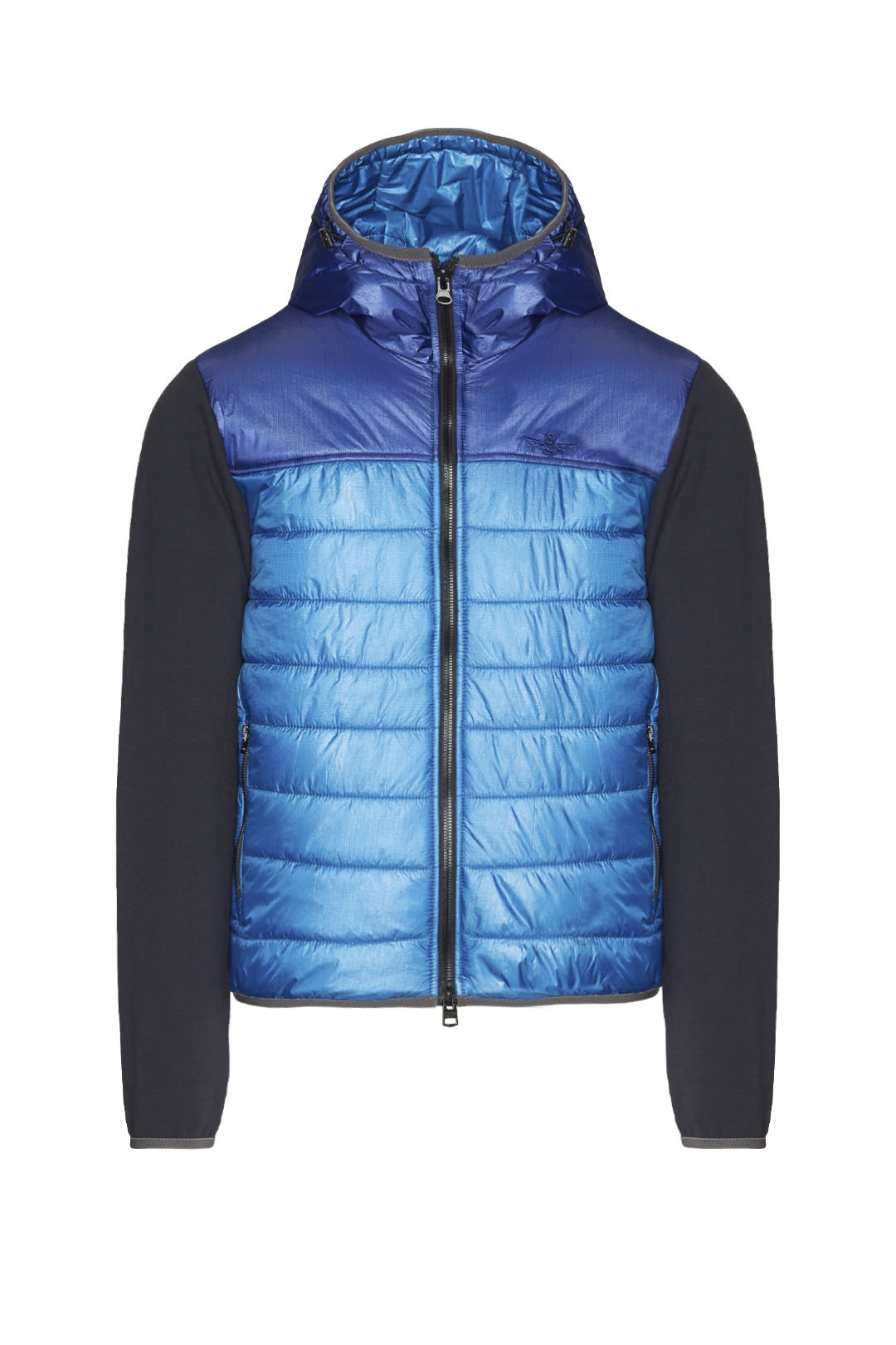 Padded jacket in mixed fabric with hood  1