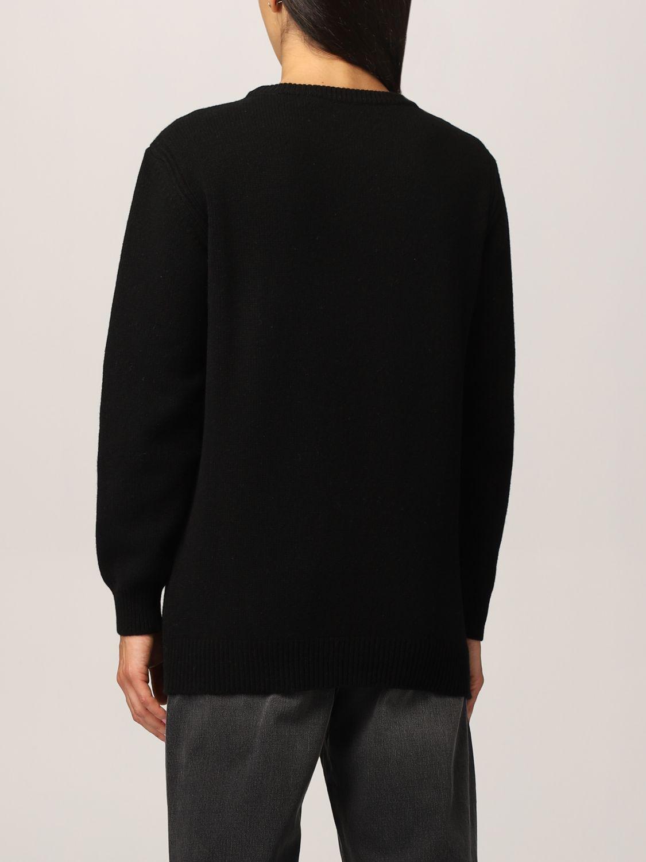Maglione over nero scritta rosa Alberta Ferretti
