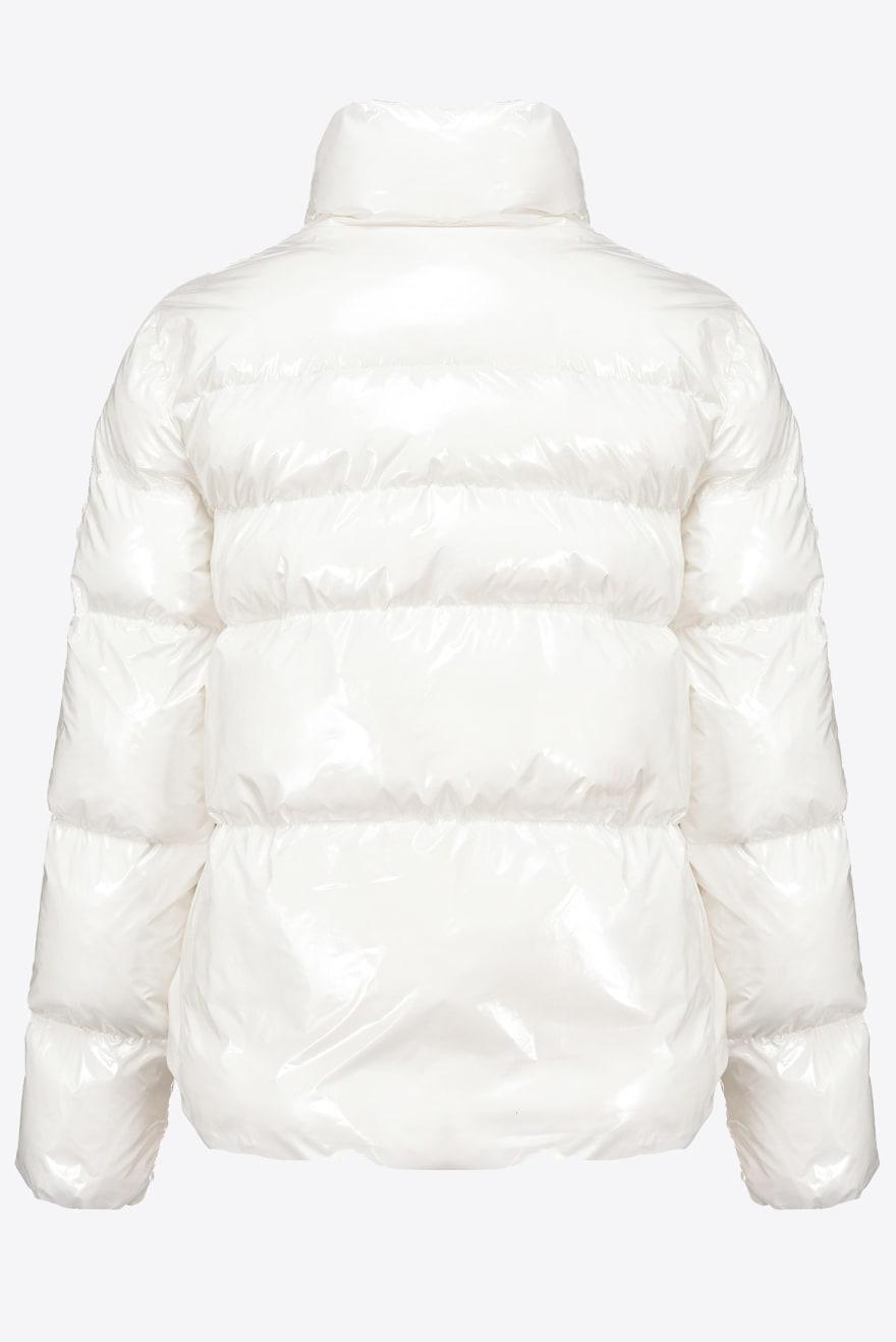 Piumino Mirco 1 in crystal nylon bianco Pinko