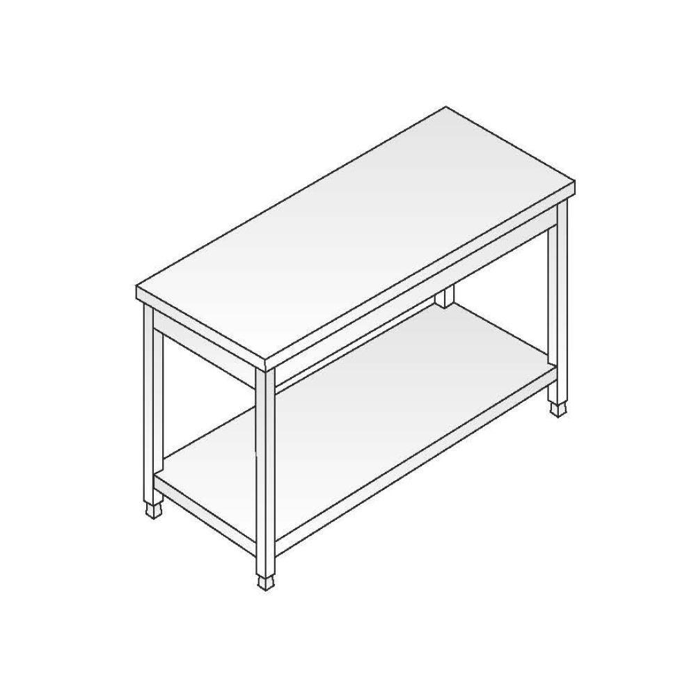 Tavolo Acciaio Inox AISI 304 - Dim. 180x60x85 cm