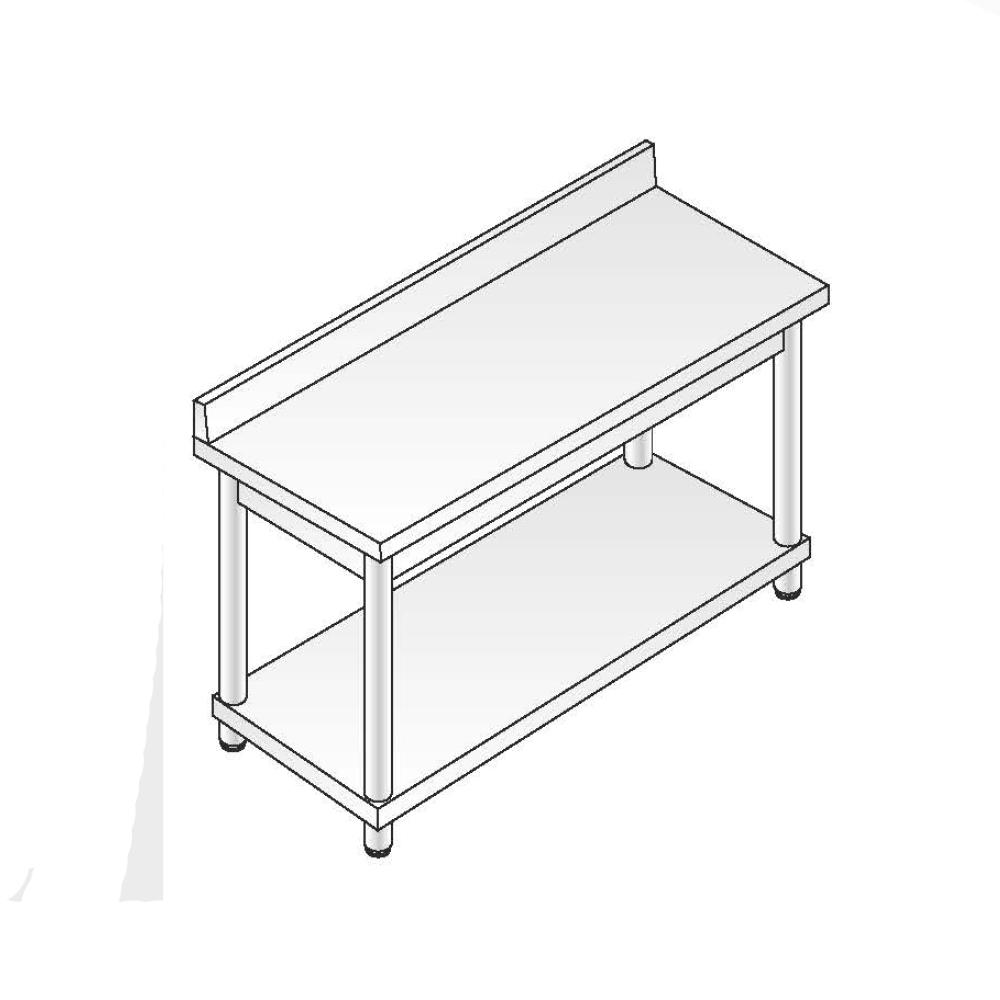 Tavolo Acciaio Inox AISI 304 - Dim. 100x60x85 cm - Gamba Tonda - con Alzatina