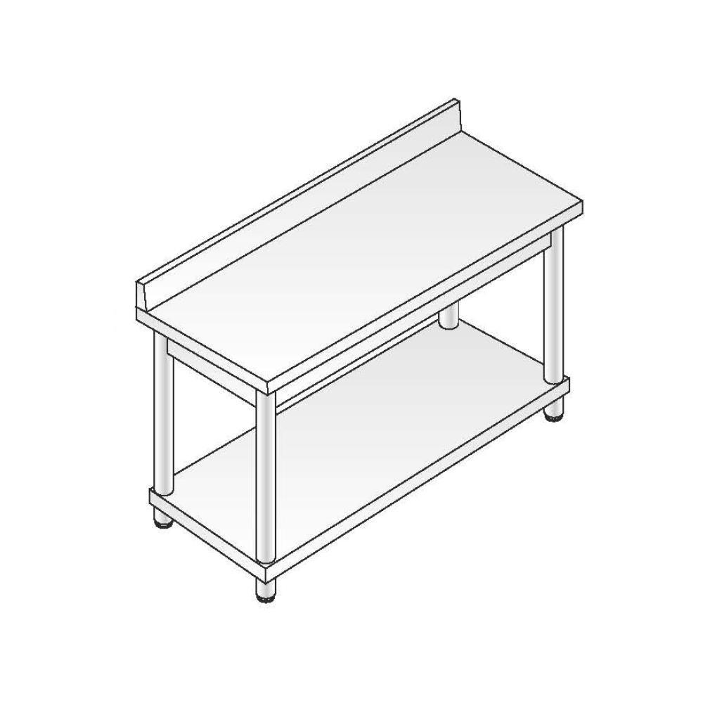 Tavolo Acciaio Inox AISI 304 - Dim. 140x60x85 cm - Gamba Tonda - con Alzatina