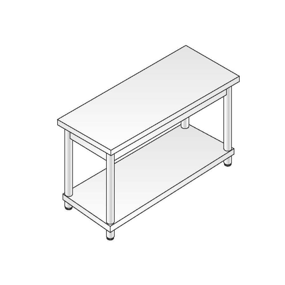 Tavolo Acciaio Inox AISI 304 - Dim. 200x70x85 cm - Gamba Tonda