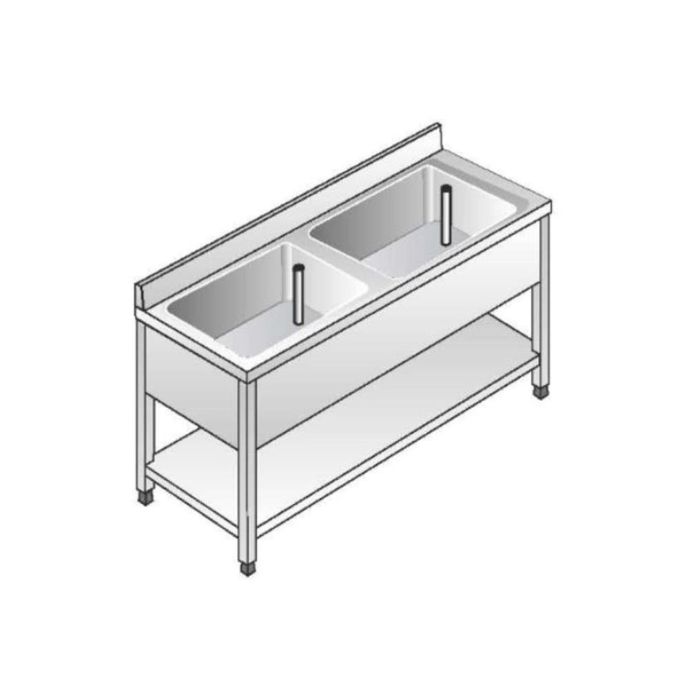 Lavello Acciaio Inox AISI 304 - 2 Vasche - Dim. 140x60x85 cm - con Alzatina
