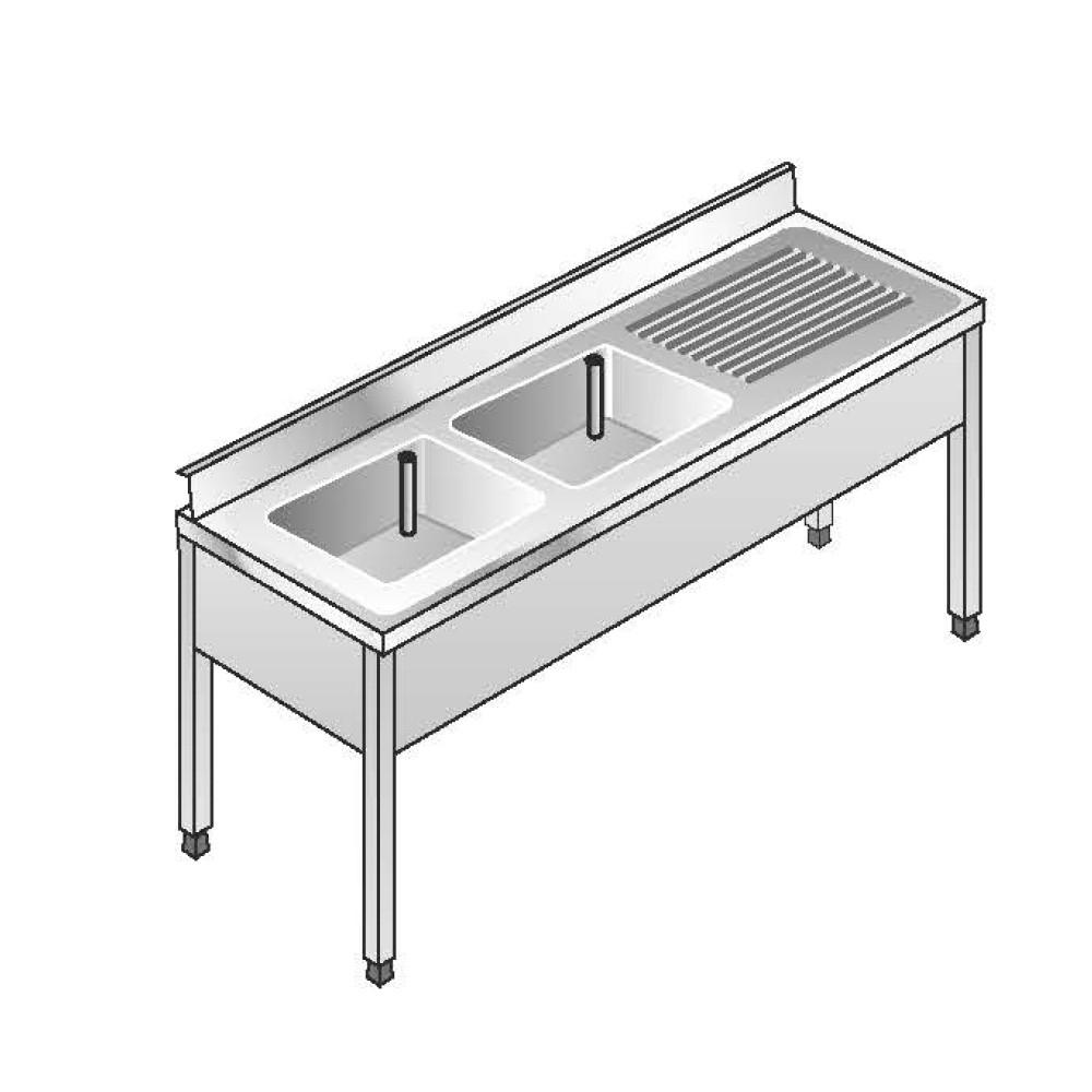Lavello Acciaio Inox AISI 304 - 2 Vasche DX - Sgocciolatoio SX - Dim. 180x60x85 cm - con Alzatina