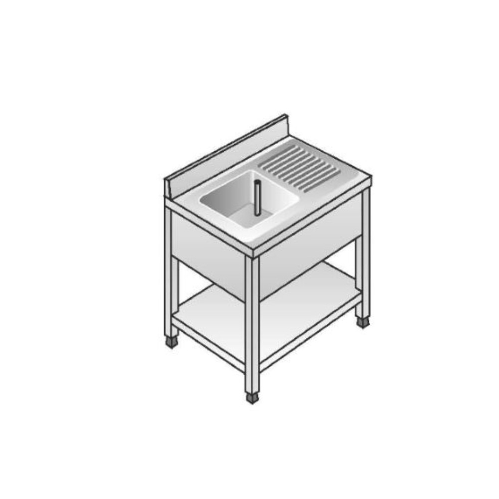 Lavello Acciaio Inox AISI 304 - 1 Vasca DX - Sgocciolatoio SX - Dim. 100x70x85 cm - con Alzatina