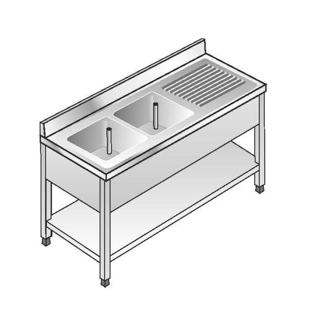 Lavello Acciaio Inox AISI 304 - 2 Vasche SX - Sgocciolatoio DX - Dim. 160x70x85 cm - con Alzatina