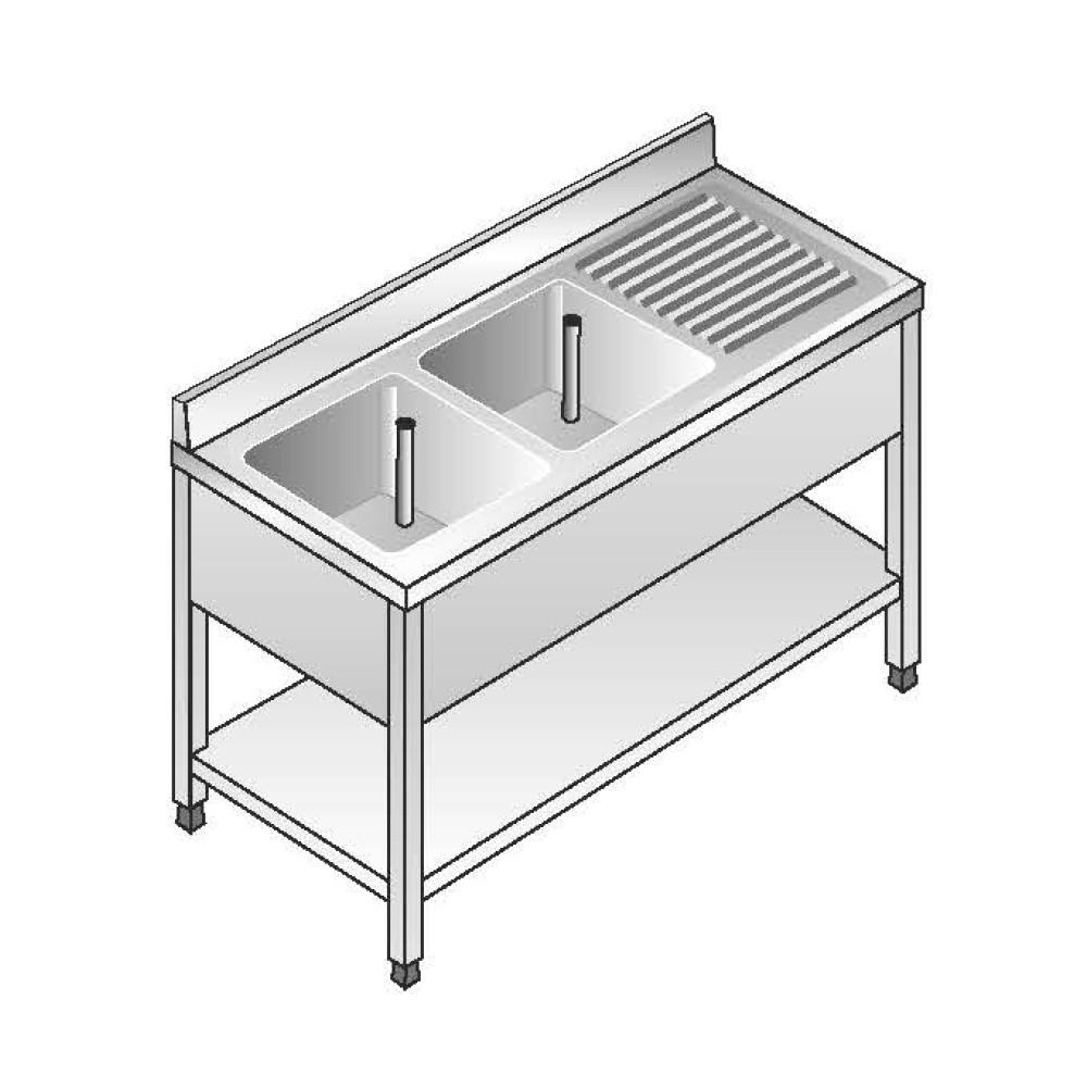 Lavello Acciaio Inox AISI 304 - 2 Vasche DX - Sgocciolatoio SX - Dim. 140x70x85 cm - con Alzatina