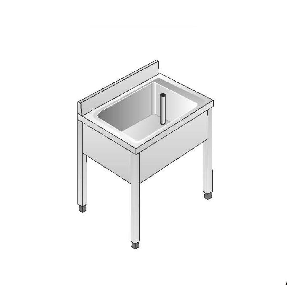 Lavello Acciaio Inox AISI 304 - 1 Vasca - Dim. 70x70x85 cm - con Alzatina - senza Ripiano