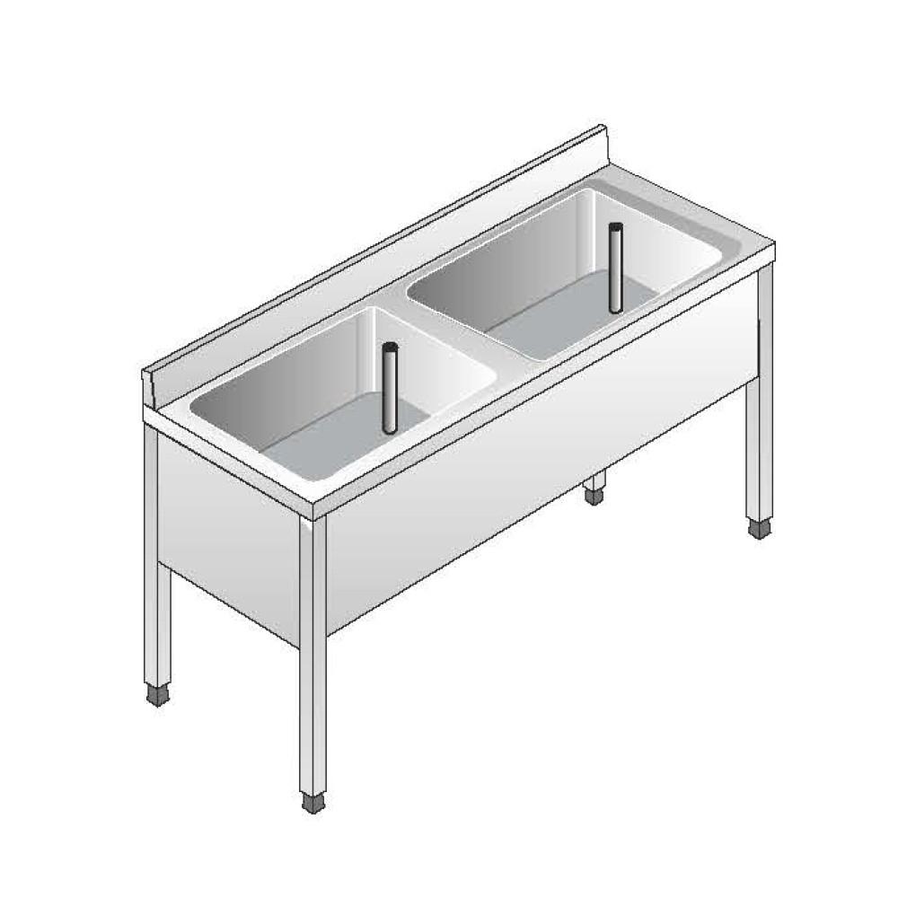 Lavello Acciaio Inox AISI 304 - 2 Vasche - Dim. 140x70x85 cm - con Alzatina - senza Ripiano