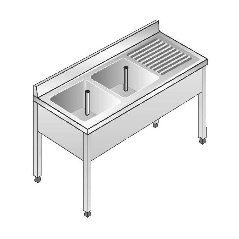 Lavello Acciaio Inox AISI 304 - 2 Vasche SX - Sgocciolatoio DX - Dim. 140x70x85 cm - con Alzatina - senza Ripiano