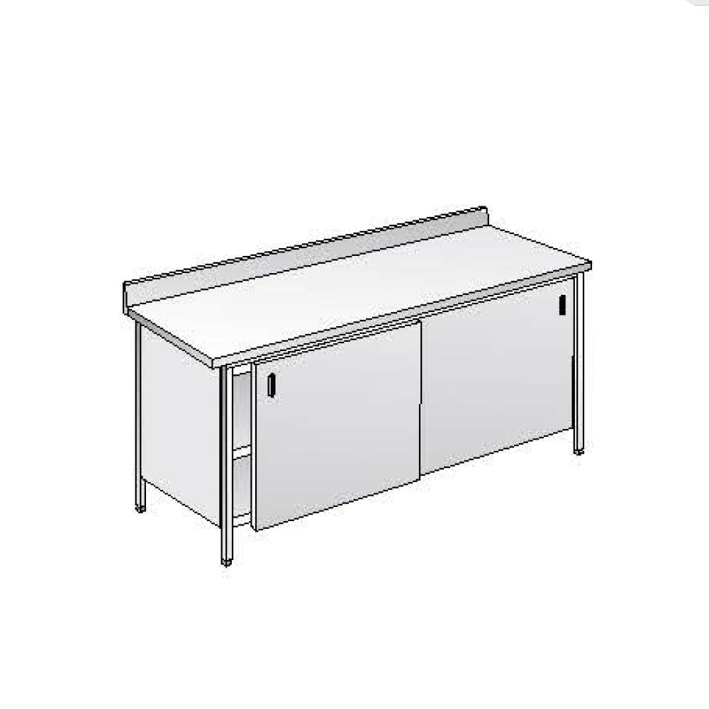 Tavolo Acciaio Inox Armadiato AISI 304 - Dim. 140x60x85 cm - con Alzatina