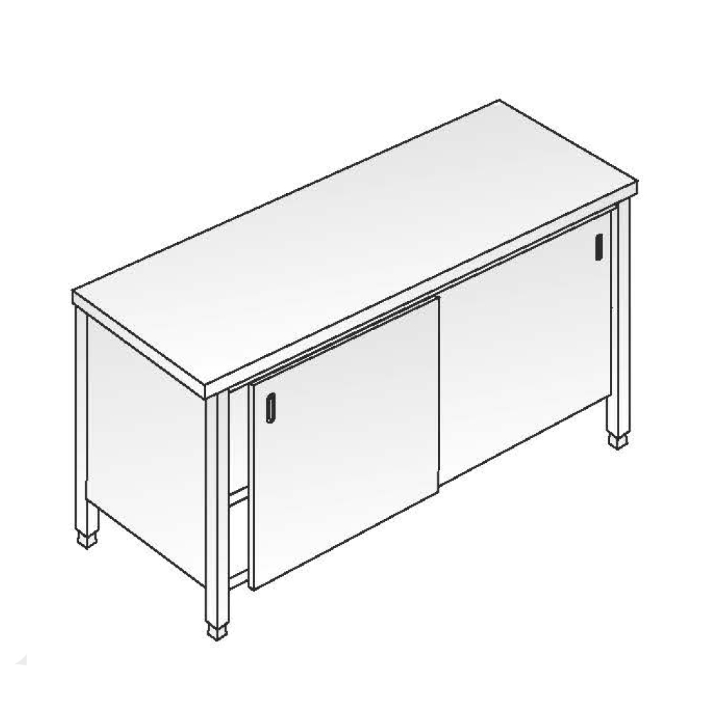 Tavolo Acciaio Inox Armadiato AISI 304 - Dim. 200x70x85 cm