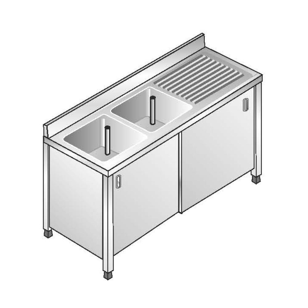 Lavello Inox Armadiato AISI 304 - 2 Vasche SX - Sgocciolatoio DX - Dim. 180x70x85 cm - con Alzatina
