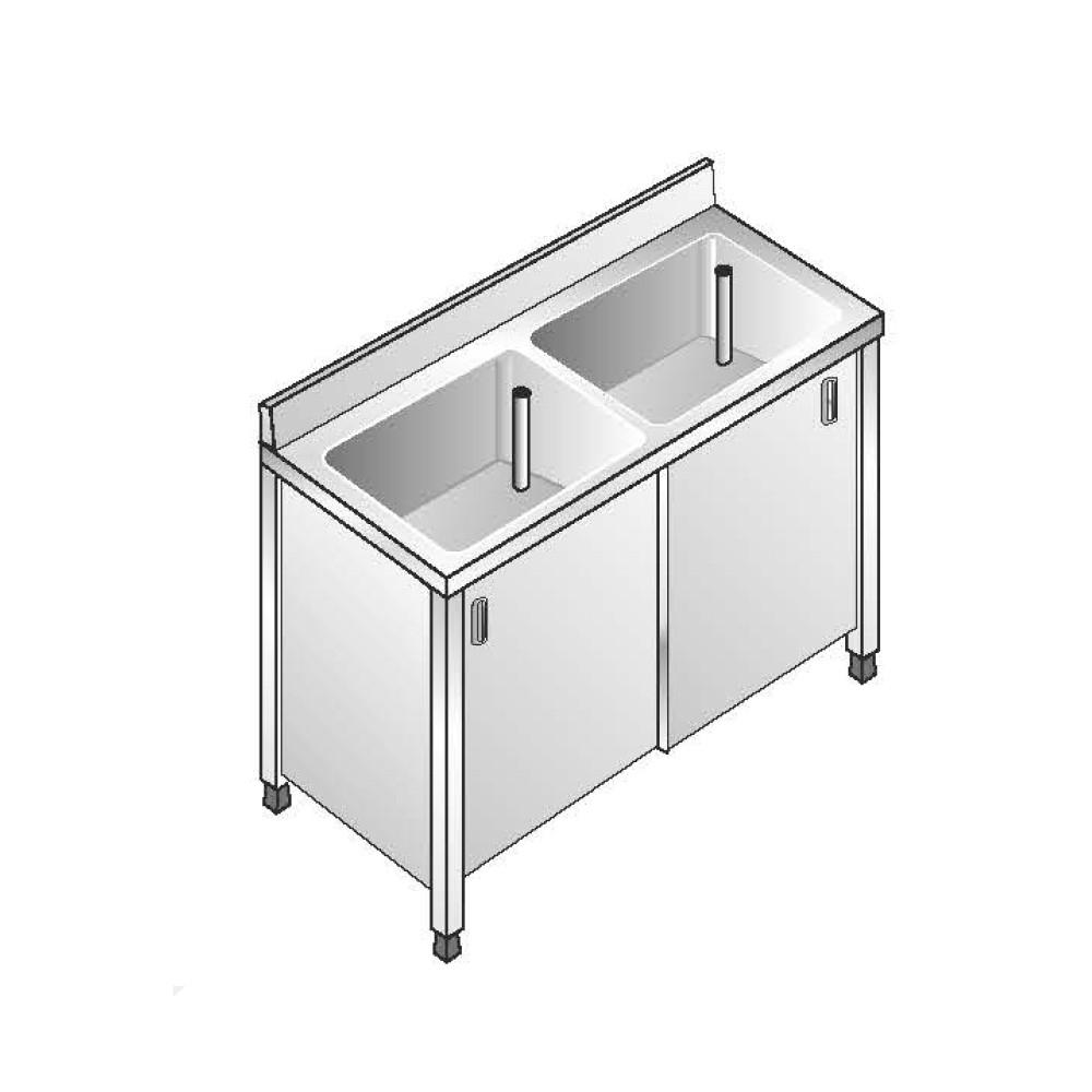 Lavello Inox Armadiato AISI 304 - 2 Vasche - Dim. 140x60x85 cm - con Alzatina