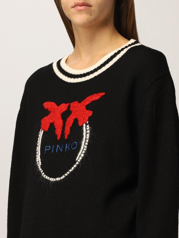 SHOPPING ON LINE PINKO PULLOVER CON LOGO RICAMATO COLLIO NEW COLLECTION WOMEN'S FALL/WINTER 2022
