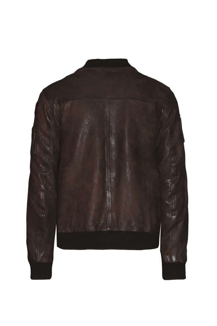 Leather bomber with patches              2