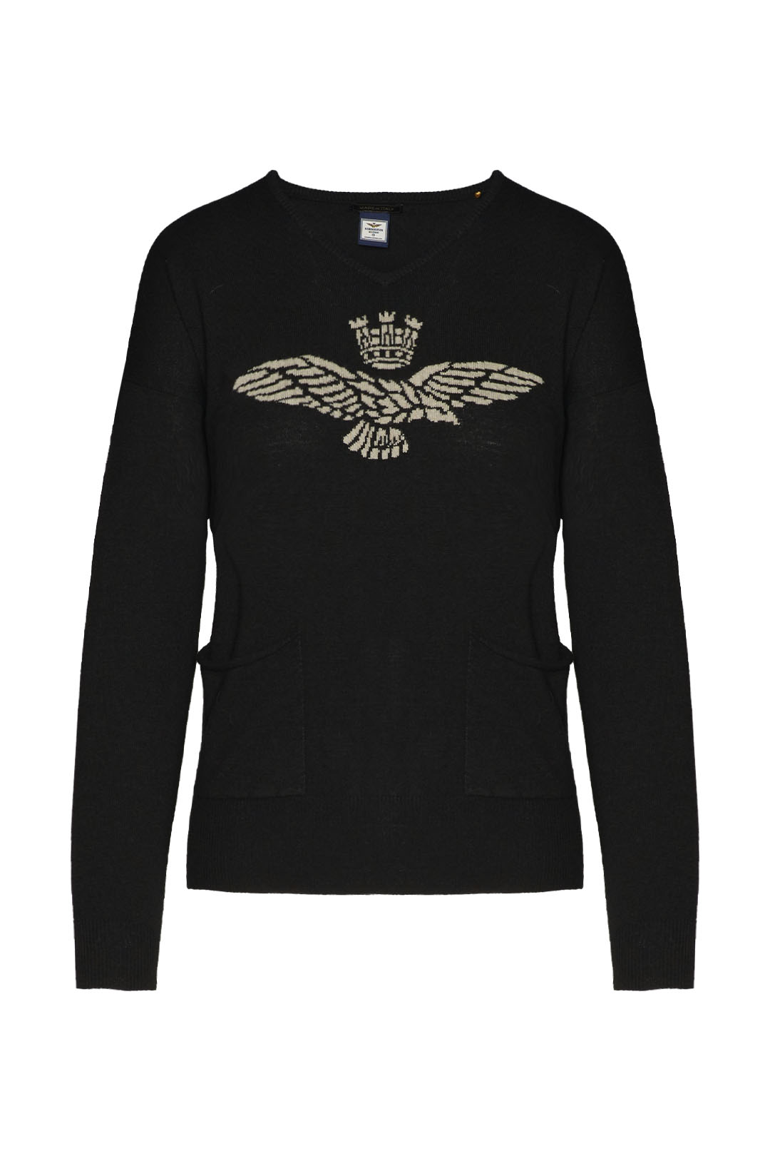 Cashmere blend sweater with eagle        1