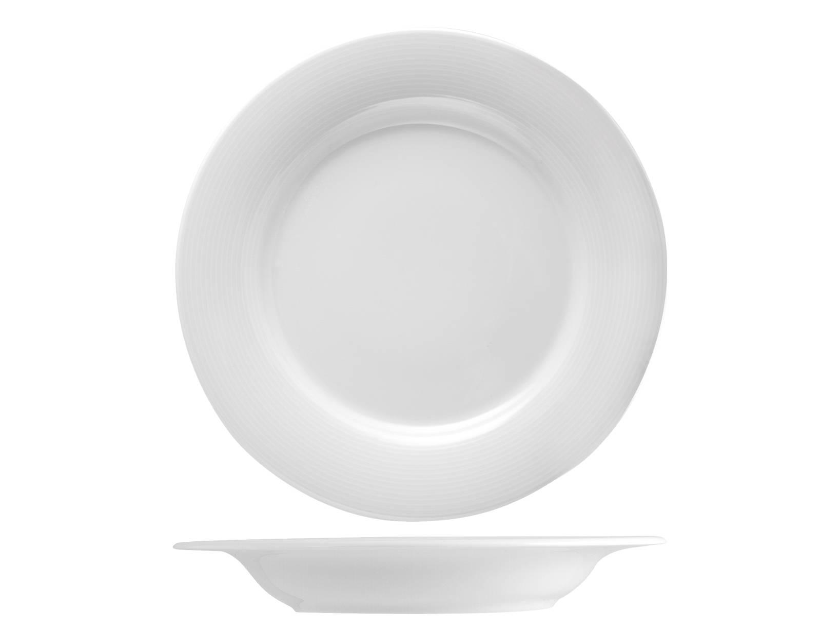12 Piatti In Porcellana Firenze Bianco Fondo