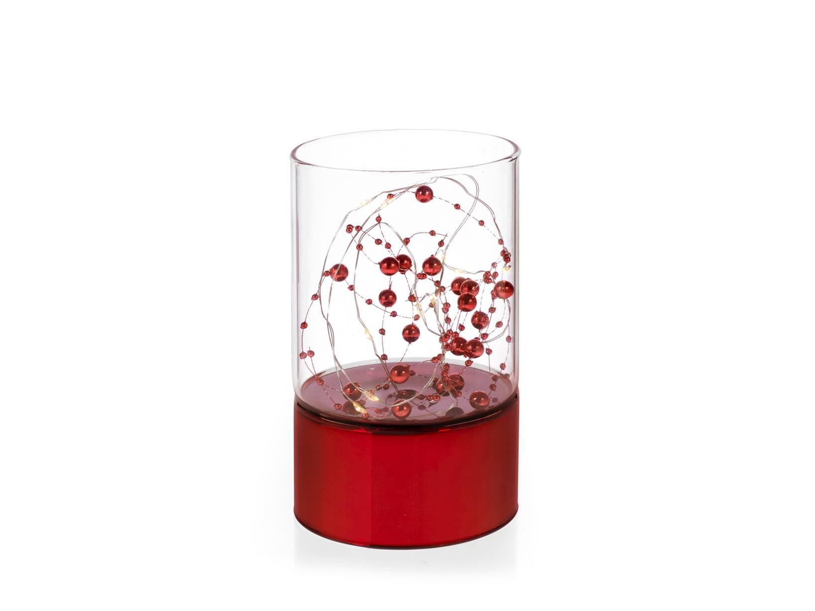 Cilindro In Vetro Con Led Rosso