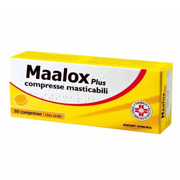 MAALOX PLUS 30 CPR MASTICABILE UTILE IN CASO DI BRUCIORE DI STOMACO ASSOCIATO A GONFIORE E METEORISMO
