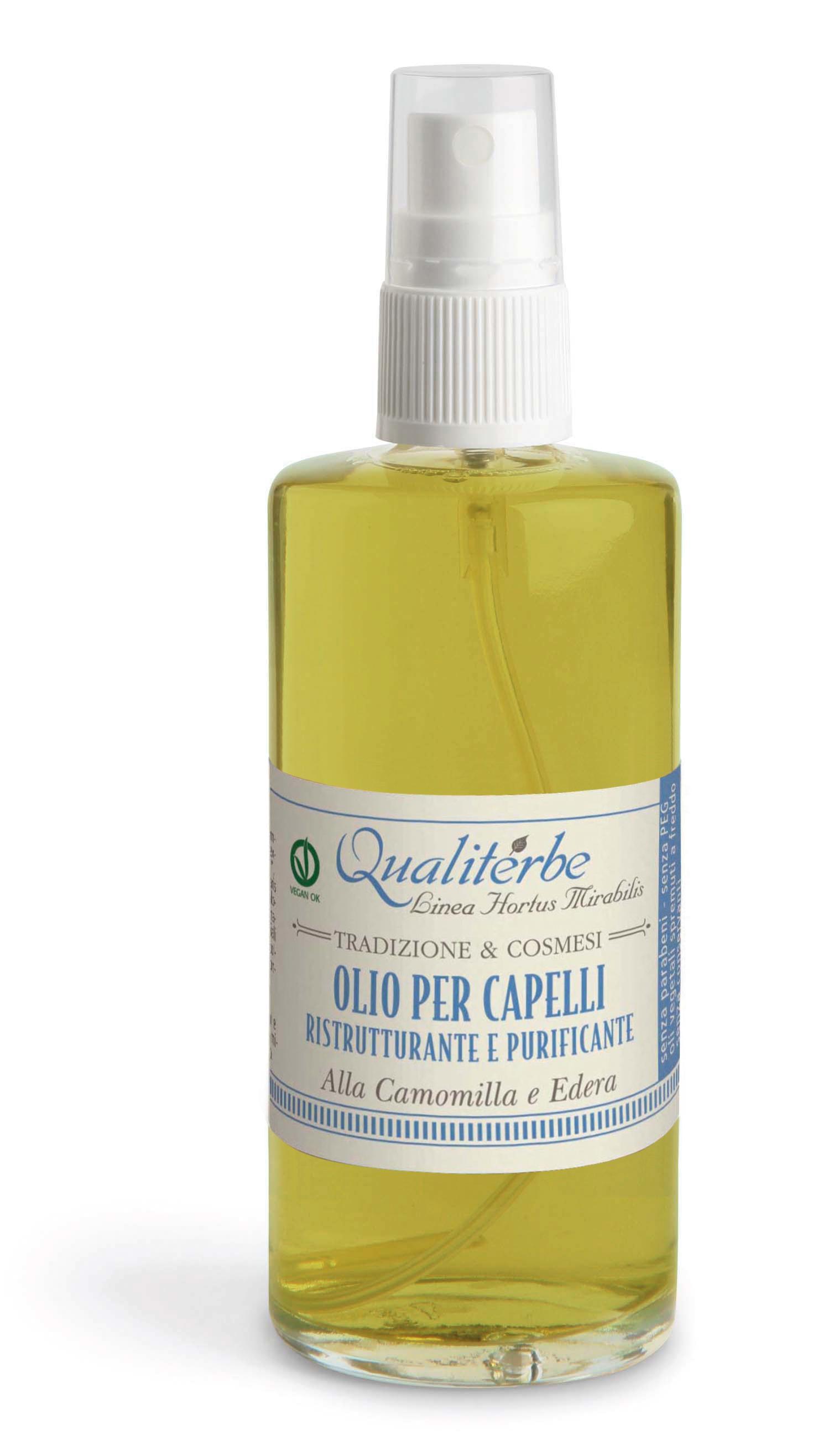 Olio per capelli ristrutturante e purificante alla Camomilla ed Edera
