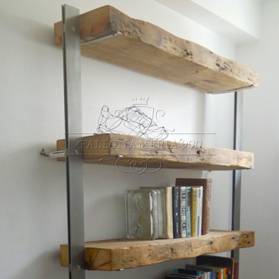 Libreria con top il legno massello e struttura in ferro ...