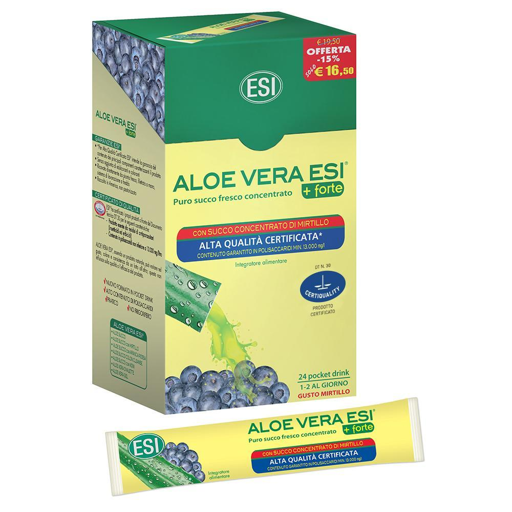 ALOE VERA SUCCO CONCENTRATO CON MIRTILLO POCKET DRINK - INTEGRATORE DEPURATIVO ESI