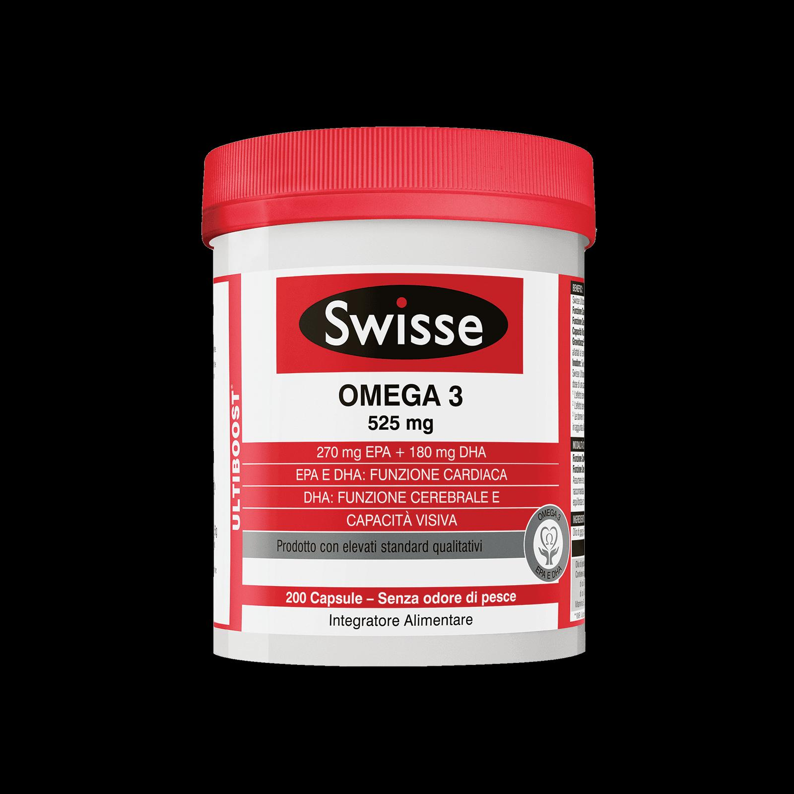 SWISSE OMEGA 3 - INTEGRATORE PER VISTA E CUORE 200 CAPSULE