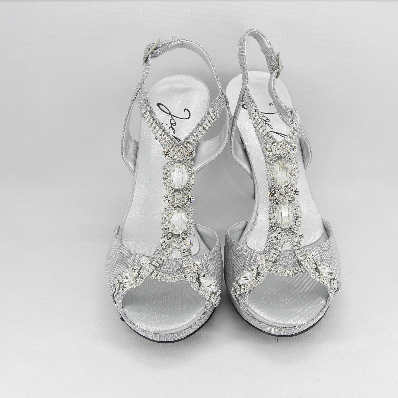 e0ce2a16ff Sandalo donna elegante da cerimonia in tessuto glitter argento con  applicazioni cristalli e cinghietta regolabile Art. 1030