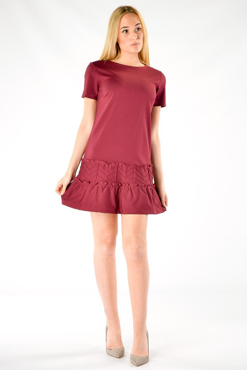 f81be05d11dc Abito donna Red Valentino in viscosa con balze bordeaux - RoncaStyle