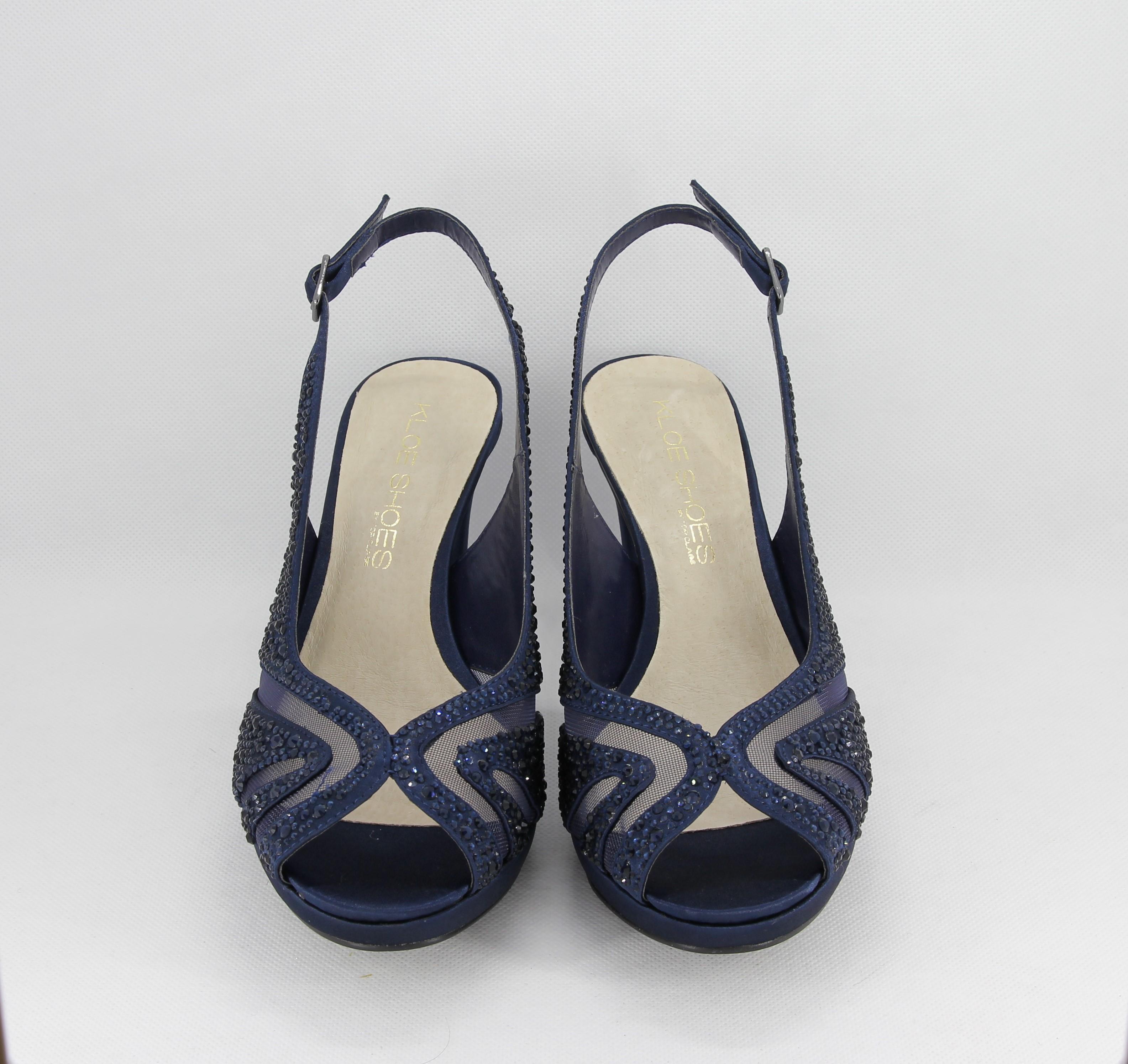 the best attitude 136f9 f9bbd Sandalo cerimonia donna elegante in tessuto blu con applicazione in  cristalli e cinghietta regolabile Art.H17Z10PTRASF0943P07
