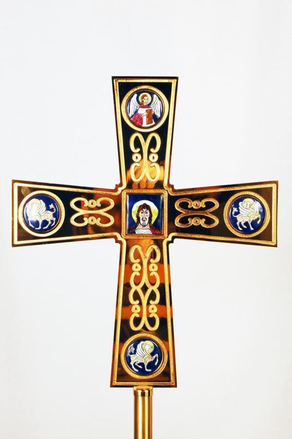 Croce astile con smalti fel3135 for Pietrobon arredi sacri