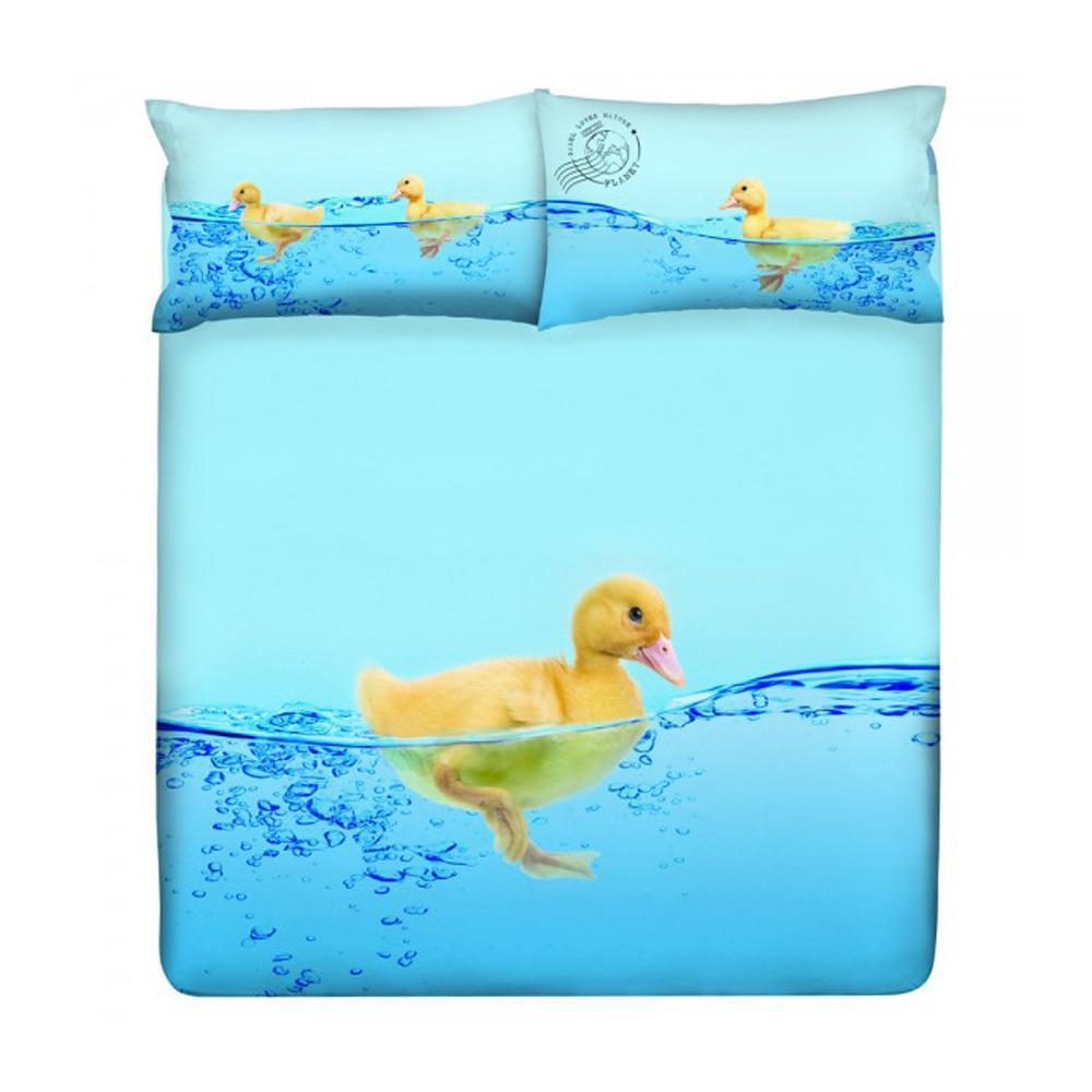 Copripiumino Gabel Piazza E Mezza.Set Copripiumino Piazza E Mezza Gabel Duck Duck Azzurro Cotone
