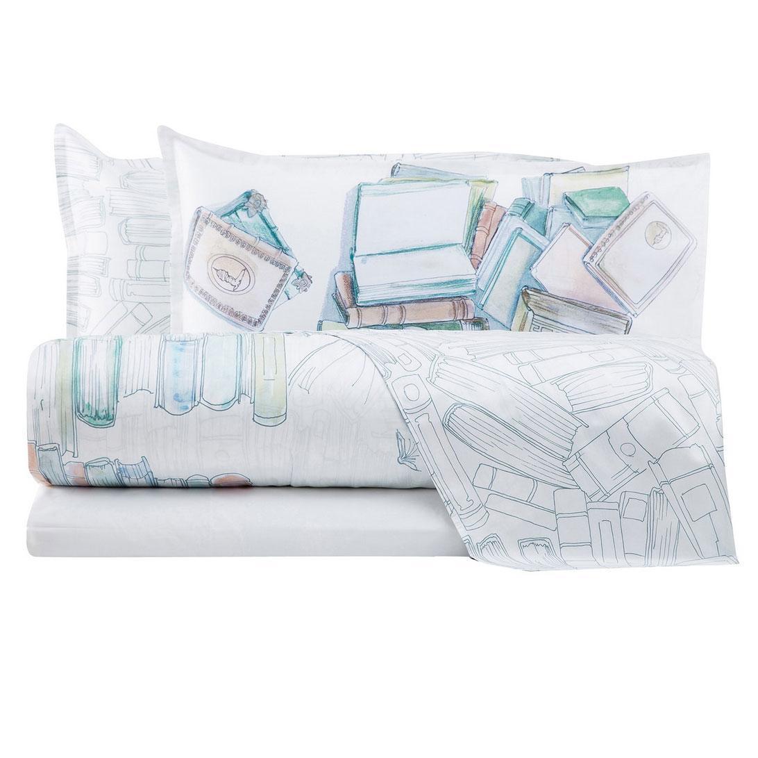 Lenzuola Matrimoniali Trussardi.Bedding Set Double Bed Trussardi Books Pure Cotton Percale White