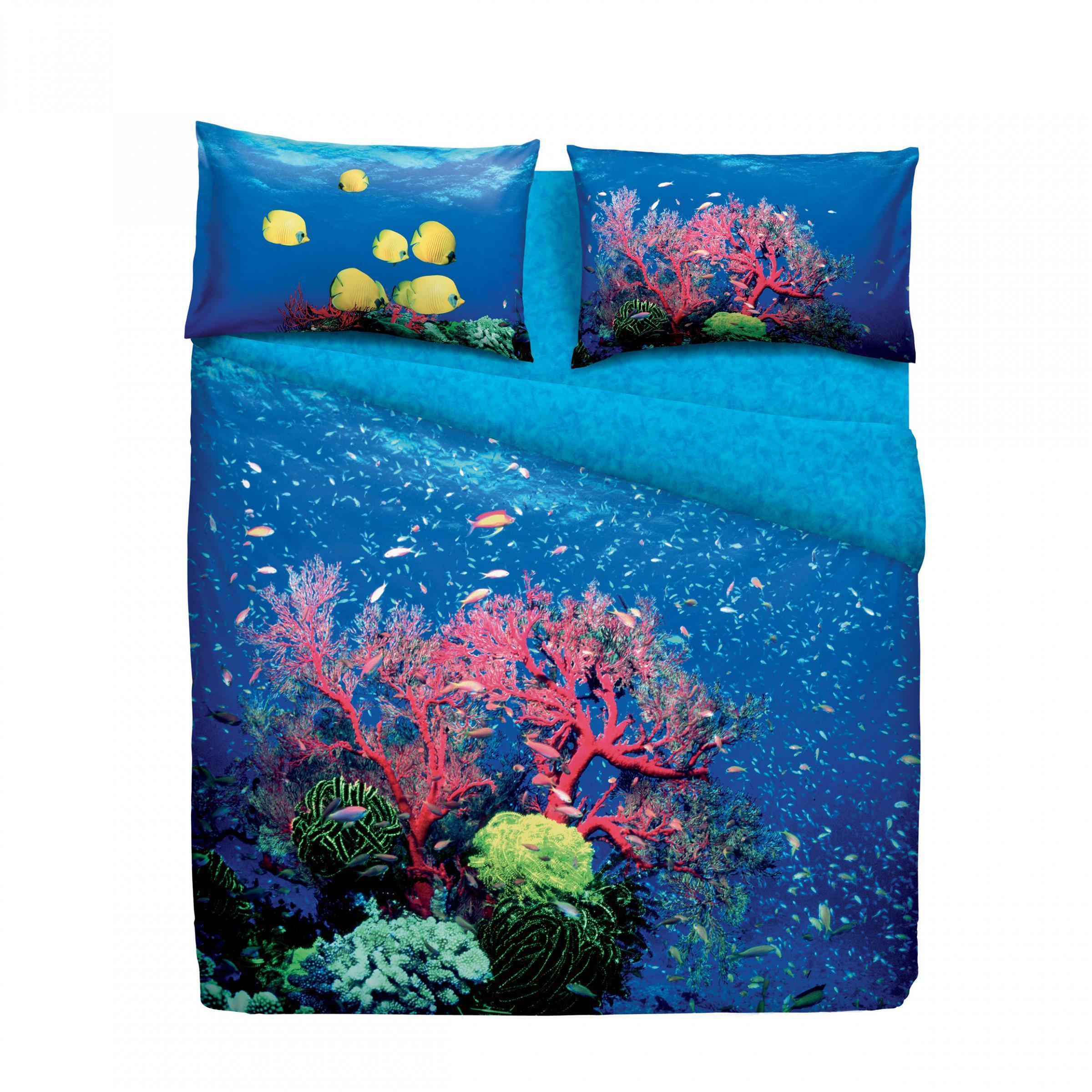 Set copripiumino letto singolo 1 piazza bassetti deep sea stampa digitale - Piumini letto singolo bassetti ...