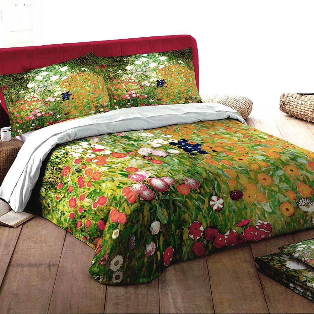 Lenzuola Di Seta Opinioni set lenzuola matrimoniale 2 piazze randi quadri d'autore -giardino in fiore  di klimt