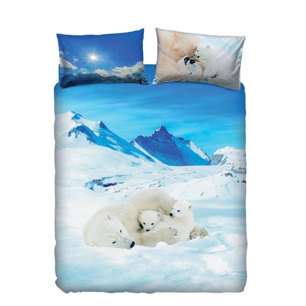 Copriletto Bassetti Una Piazza E Mezza.Set Copripiumino Letto Piazza E Mezza Bassetti Bears In The Snow Azzurro