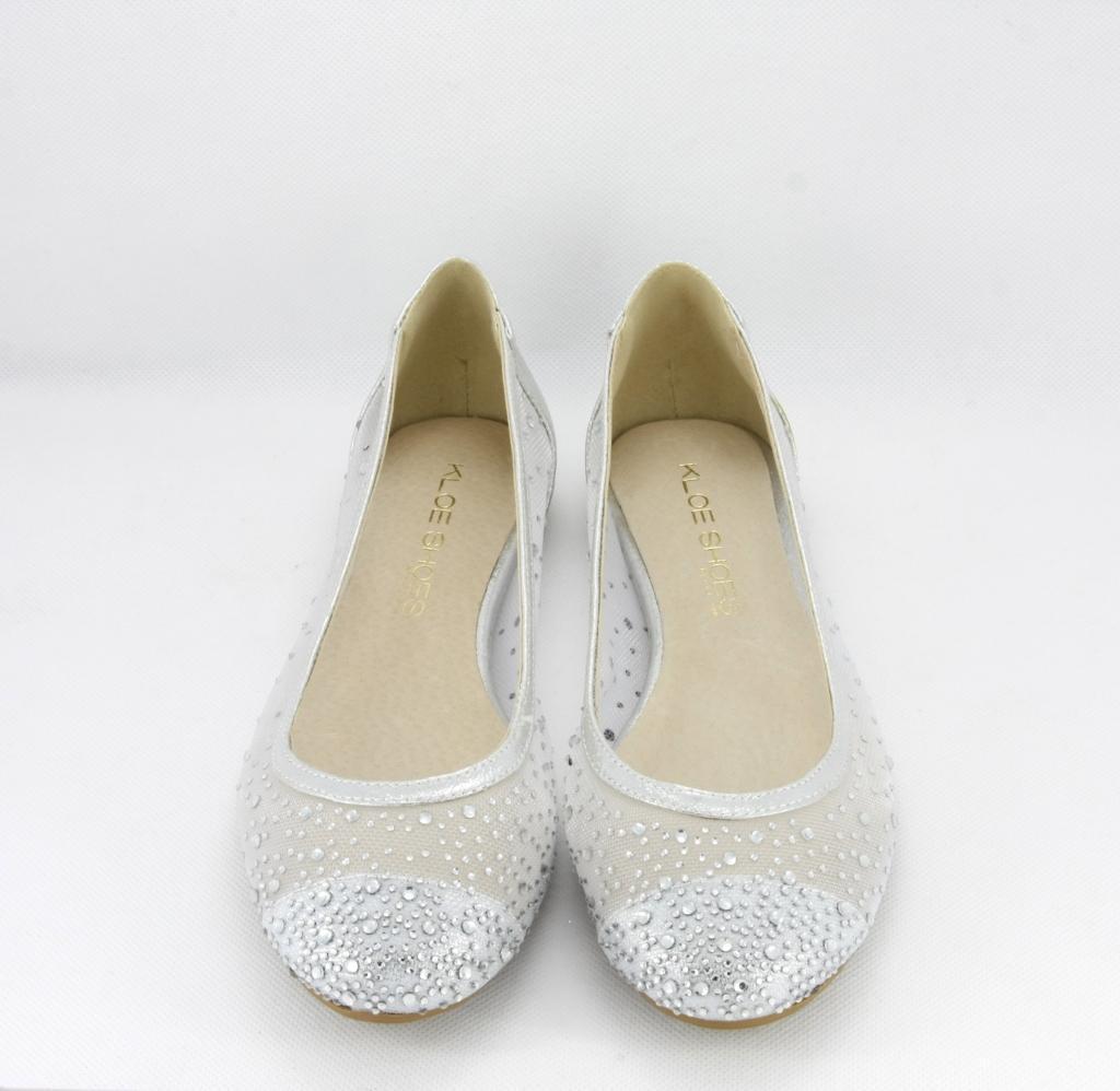 più recente cb3f4 f4e98 Ballerine eleganti donna in tessuto rete argento con applicazione cristalli