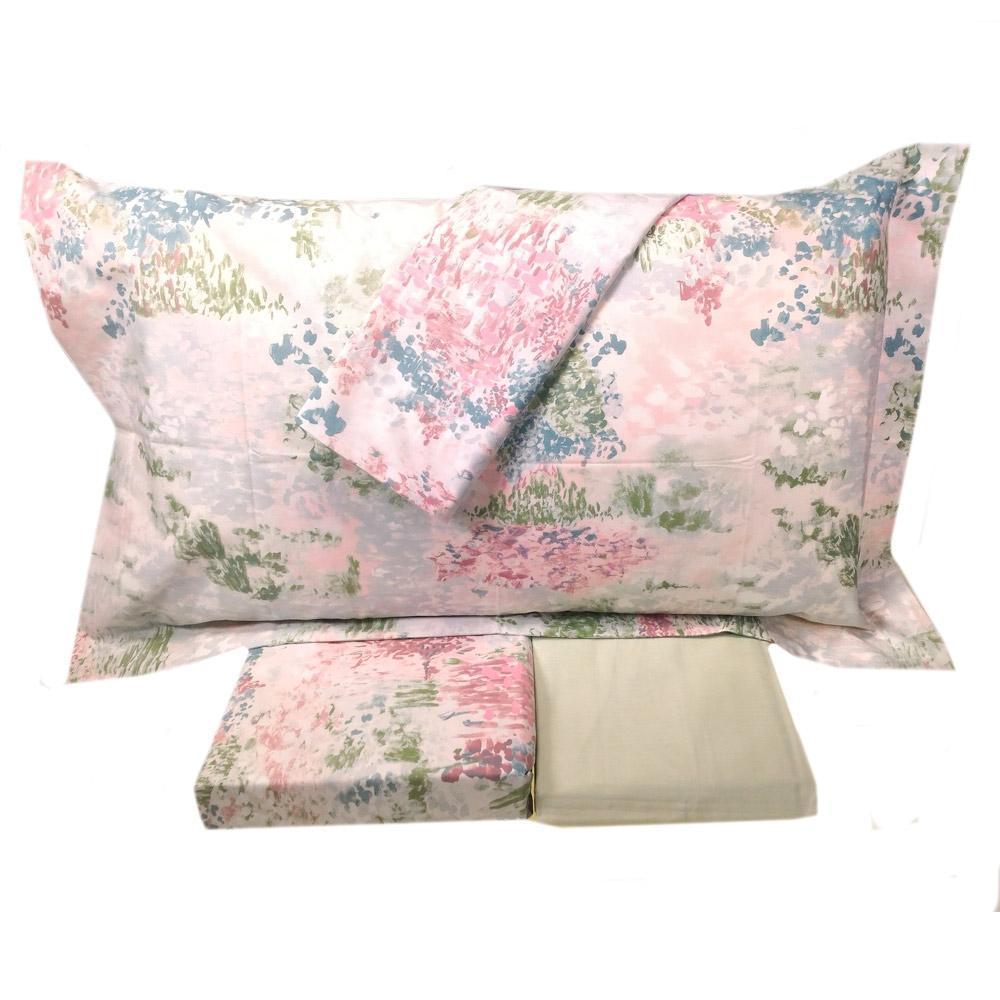 online store cf3cd cd005 Set lenzuola matrimoniale MIRABELLO percalle SPONY rosa
