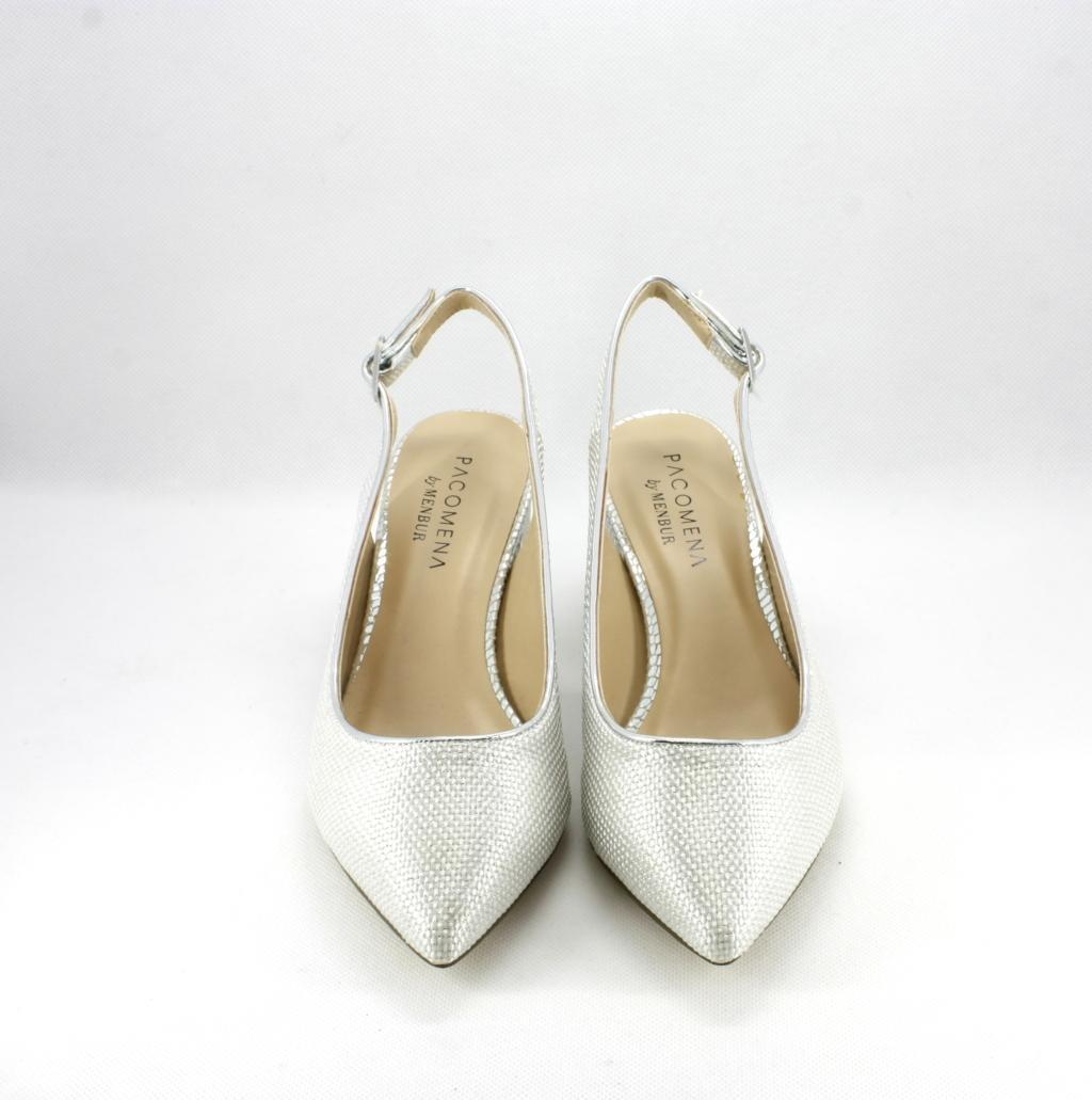 the latest feb89 48ae0 Scarpe donna elegante con punta sfilata e tacco largo colore argento Art.  07339