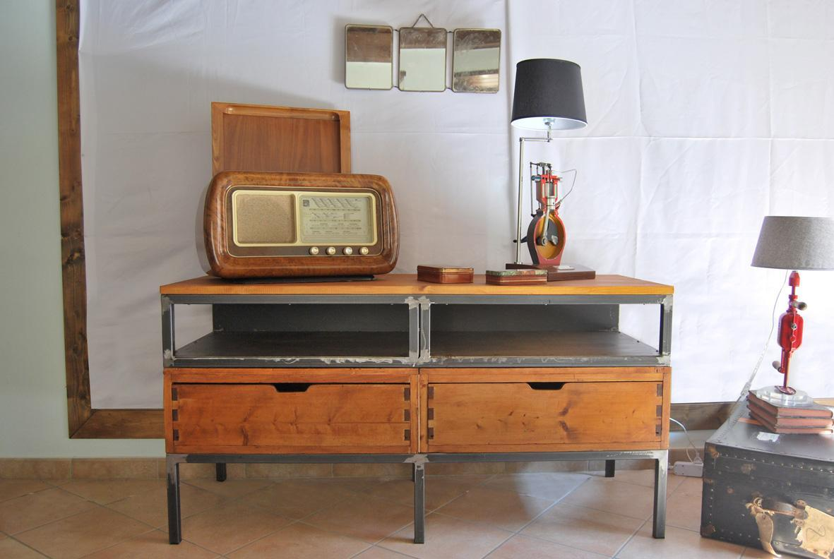 Mobile porta TV vintage industriale - VINTAGE STYLE SAS