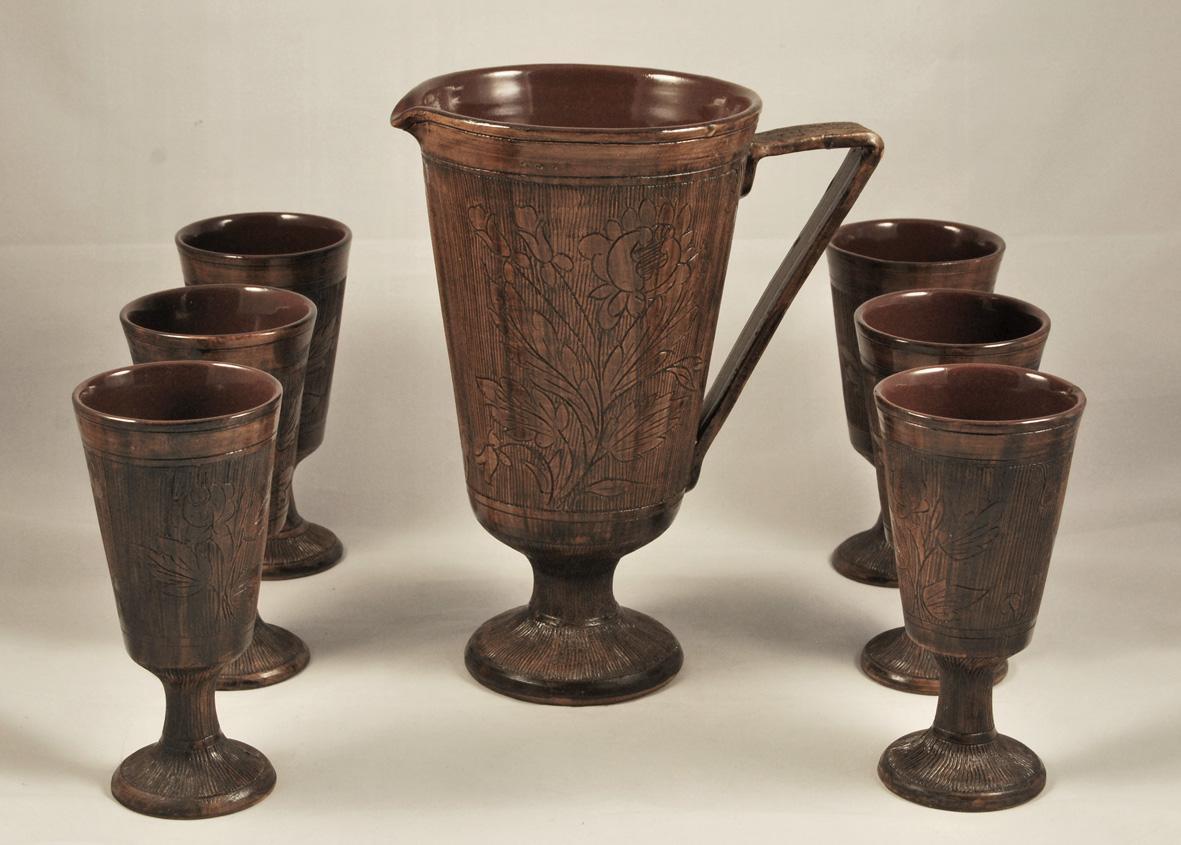 Set da vino in ceramica deruta vintage style sas