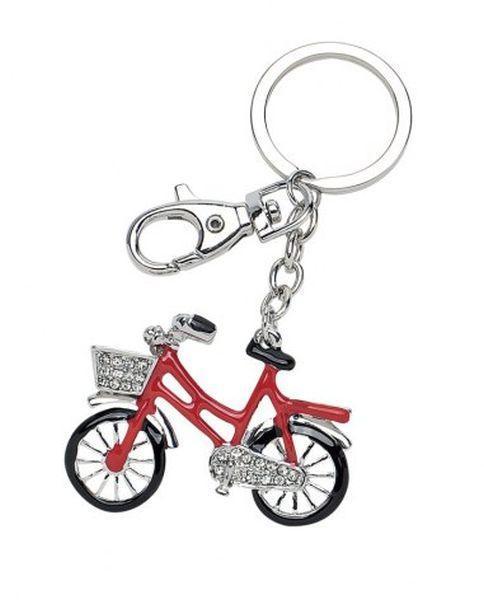 Portachiavi Bicicletta Rossa Con Brillantini Cm12x5x2h