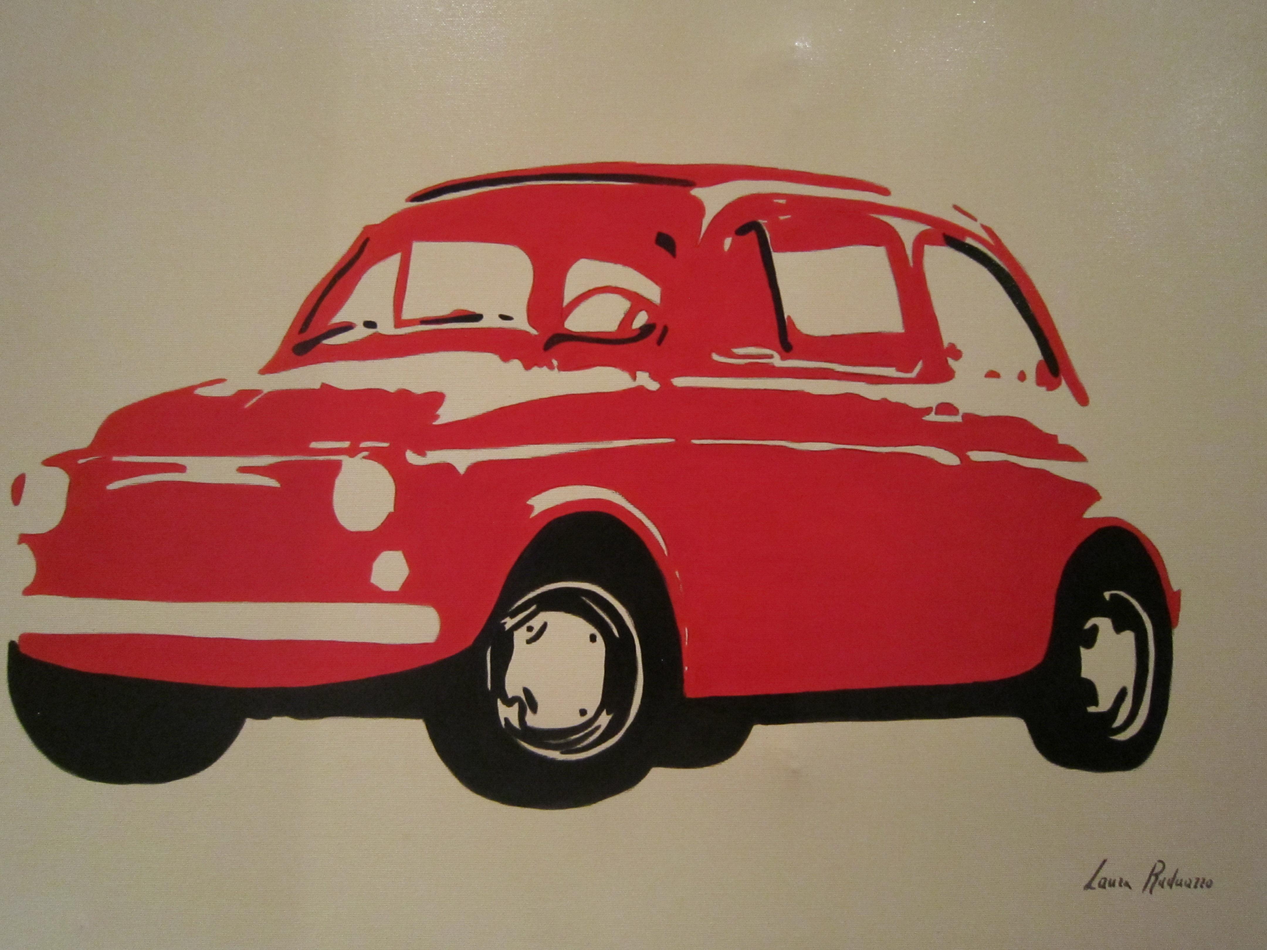 Fiat 500 Quadro Dipinto A Mano Moderno Stile Pop Art 50x70