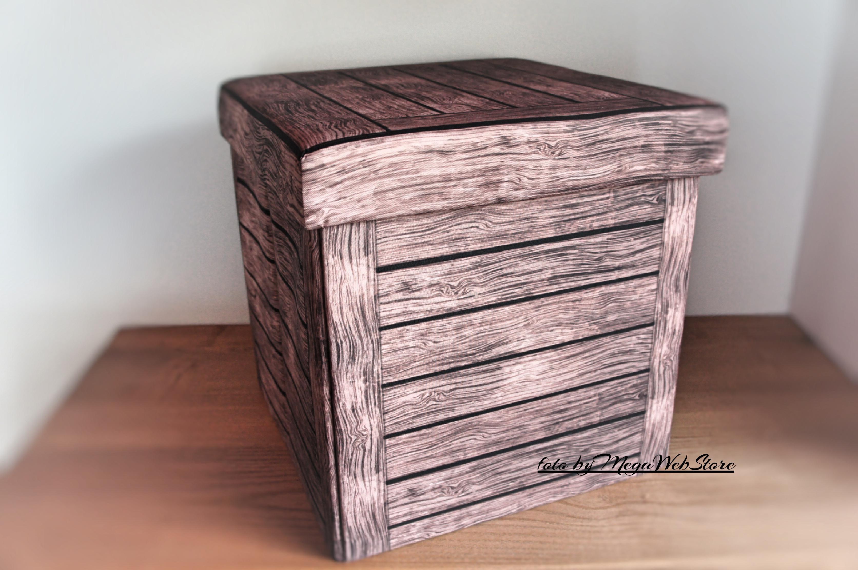 Pouf contenitore hansel color legno cassapanca pieghevole imbottito