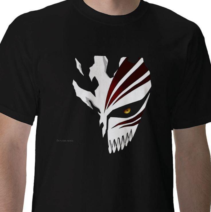 1fa53b33f2db Shinigami human Kurosaki Ichigo Soul Society hollow mask Bleach anime manga  black t-shirt - Whitebeard Print Tees