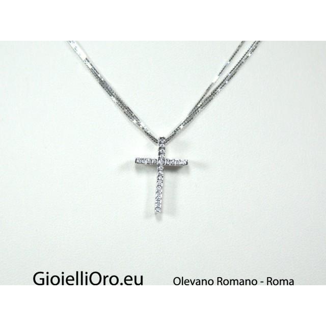 negozio online 0361b 6138a Collana multifilo con croce per uomo oro bianco diamanti carati 0,075  G-VS1Modello:1005295