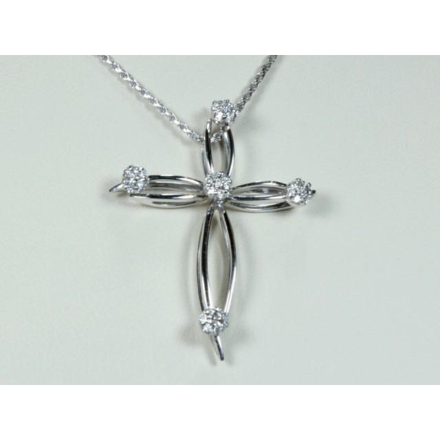 rivenditore di vendita 141e0 c7b63 Collana con croce in oro bianco e diamanti caratura 0,32  G-VS1Modello:1003347