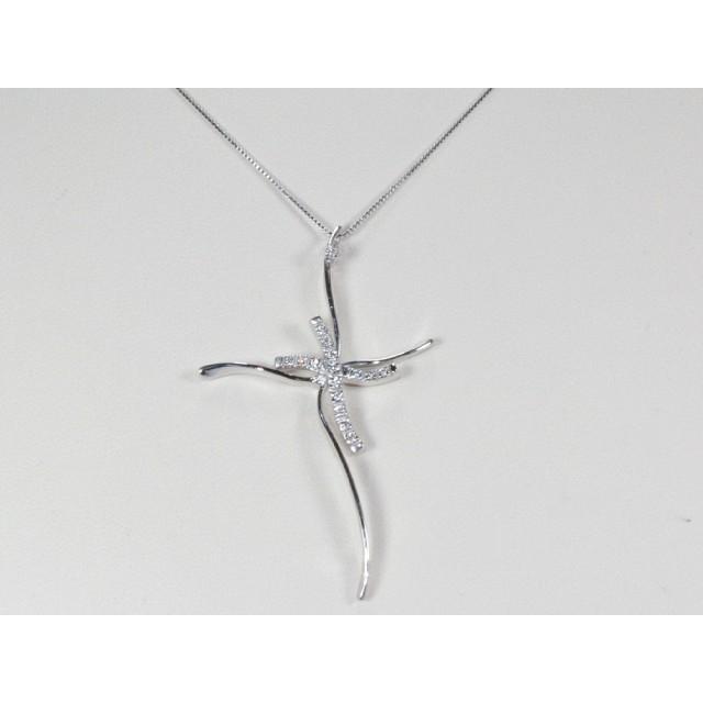 rivenditore all'ingrosso b7160 d367d Collana con croce oro bianco diamanti carati 0,075 D-VVS1Modello:1003971